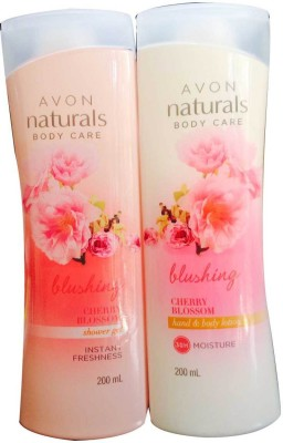 Avon Naturals Cherry Blossom shower gel and hand & body lotion