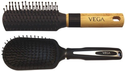 Vega Premium Flat Hair Brush E8-Fb With Premium Collection Cushioned Brush E7-Cb