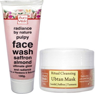 Auravedic Festive Glow Saffron Almond Rose Ubtan & Face Wash