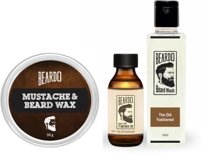 Beardo The Old Fashioned Beard Oil (30ml), Wash (100ml) & Wax (50g) Combo