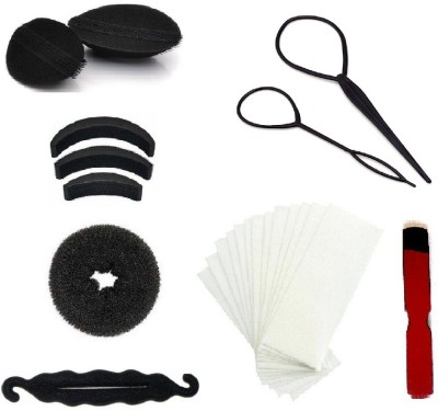 Out Of Box Hair Velcro Bumpits Topsy Maker & 50 Wax Strips with Wood Knife