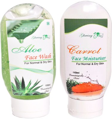 Glowing Buzz Combo of 1 Aloe Face Wash and 1 Carrot Moisturiser for normal to dry skin