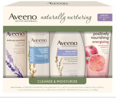 Aveeno Naturally nurturing cleanse & moisturize 4 piece set