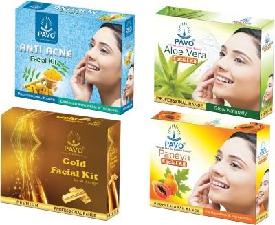 PAVO Aloe Vera & Papaya & Anti Acne & Gold Facial Kit