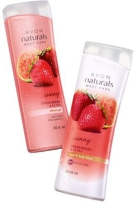 Avon Naturals Strawberry and Guava Shower Gel and Body lotion