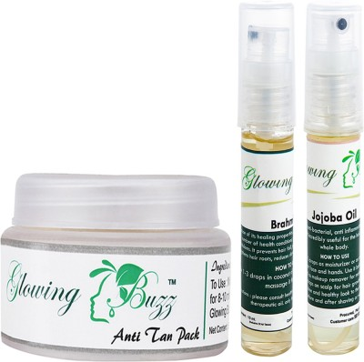 Glowing Buzz Combo of 1 Natural Anti Tan Pack for Face, Dark Under Arms and Hands, 1 Brahmi Essential Oil and 1 Jojoba Essential Oil