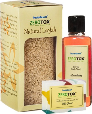 Healthbuddy Zerotox Herbal Strawberry Body Wash (210 ml), Handmade Mix Fruit Soap (125 gm) & Natural Loofah