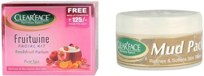 Clear Face Fruit Wine Facial Kit & Mud Pack 250 Gm