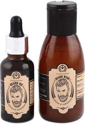 The Man Company Argan & Geranium Beard Oil (30ml) & Wash Combo (100ml)