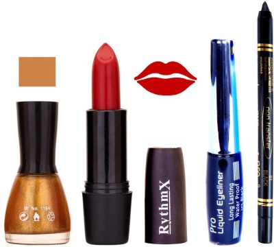 Rythmx Glitter gold Nail Polish RedLipstick With Eyeliner and Pro Non Transfer Black Kajal 68111