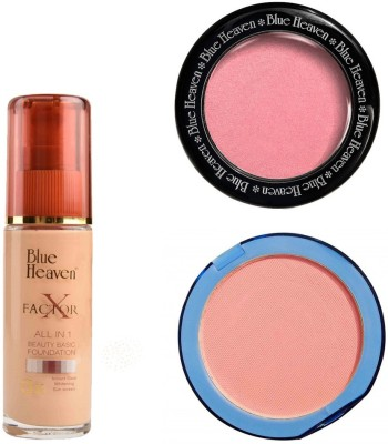 Blue Heaven X Factor Foundation (Blush), Silk On Face Compact (Pink) & Diamond Blush on 504