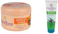 Clear Face Apricot Scrub With Kashmiri Walnut With Neem Face Wash(Set of 2) best price on Flipkart @ Rs. 459