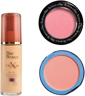 Blue Heaven X Factor Foundation (Natural), Silk On Face Compact (Pink) & Diamond Blush on 504