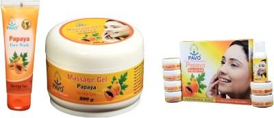 Pavo Papaya Facilal Kit & Face Wash & Massage Gel