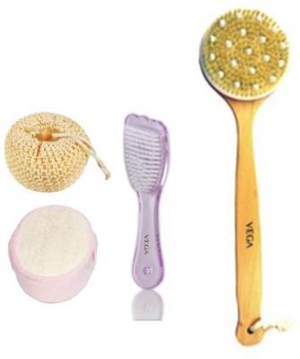 Vega Veag Bristle Bath brush- Sponge Relaxer& Foot Scruber Set of 4