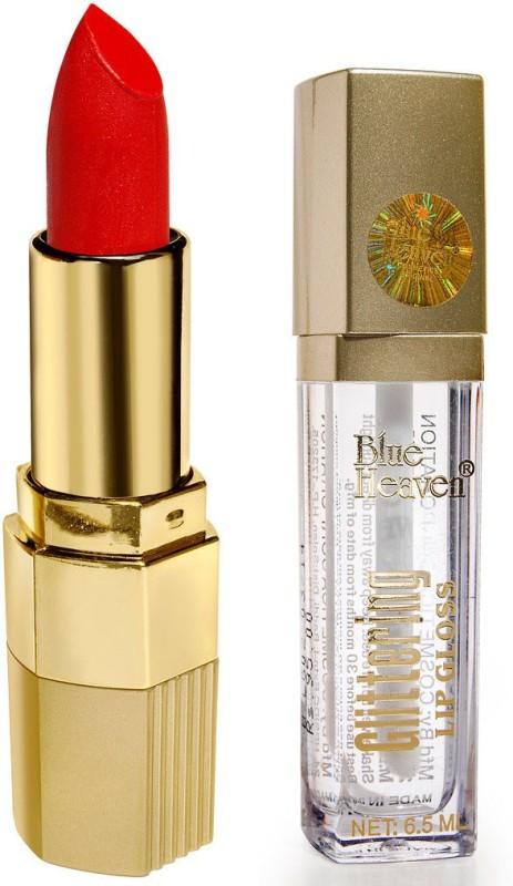 Blue Heaven Xpression Lipstick & Glittering Lip Gloss Combo(Set of 2)