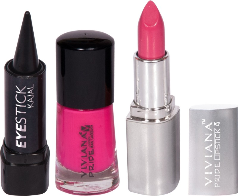 Viviana Pride Lipstick, Nail Colors, Kajal(Set of 3)