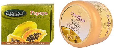 Clear Face Papaya Facial Kit & Gold Dust Almond Oil Massage Gel