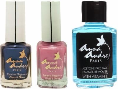 Anna Andre Paris Nail Polish - Candy Blue Duo Set & Nail Polish Remover