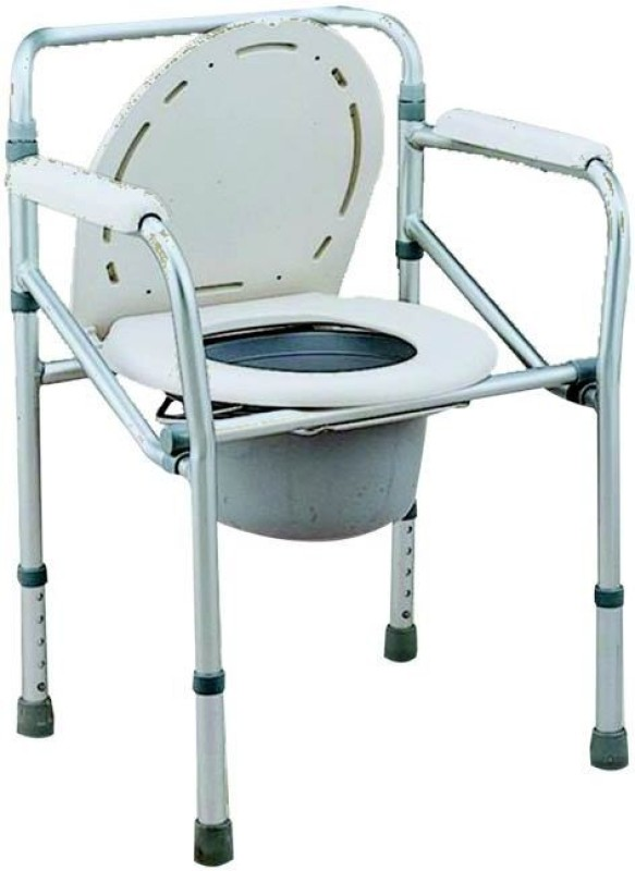 Y care Commode Chair(Steel, White, Grey)