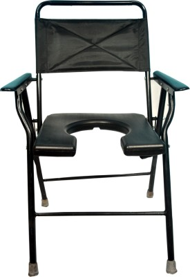 Life Line Services luxury delux commode chair with pot Commode Chair(Black)