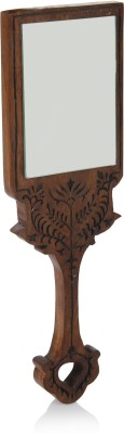 Hashcart Wooden Handheld Mirror with Hand Carved Design in Royal Brown Color