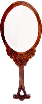 Hashcart Hand Mirror with Hand Carved Design in Brown Color