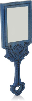 Hashcart Wooden Handheld Mirror with Hand Carved Design in Royal Blue Color