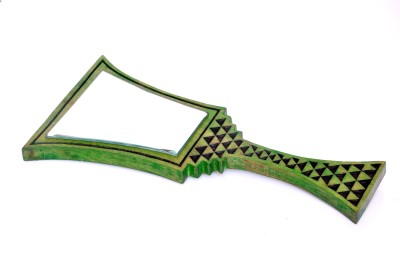 Hashcart Hand Mirror Hand Carved Design in Green Color
