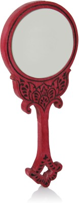 Hashcart Wooden Handheld Mirror with Hand Carved Design in Royal Red Color