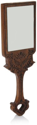 Stylemyway Wooden Handheld Mirror with Hand Carved Design in Sheesham Wood