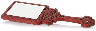 Stylemyway Wooden Handheld Mirror with Hand Carved Design