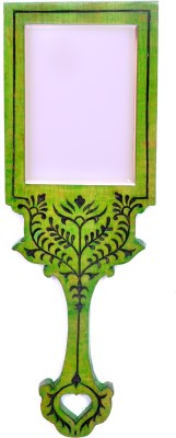 Hashcart Hand Mirror with Hand Carved Design in Green Color