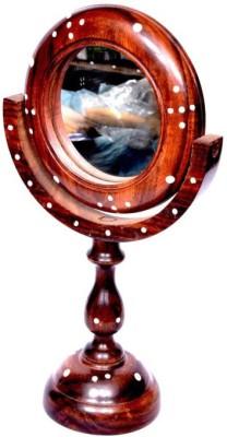 Onlineshoppee Handicraft Brown wooden Mirror Stand round