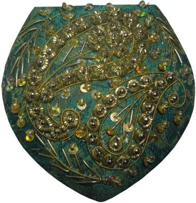 Avinash Handicrafts Compact Mirror 3.5 inch in Zari work (Green)