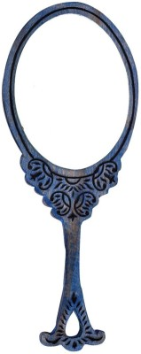 Hashcart Hand Mirror with Hand Carved Design in Blue Color