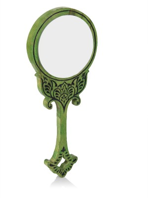 Hashcart Wooden Handheld Mirror with Hand Carved Design in Cool Green Color