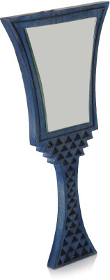 Hashcart Wooden Handheld Mirror with Hand Carved Design in Cool Blue Color