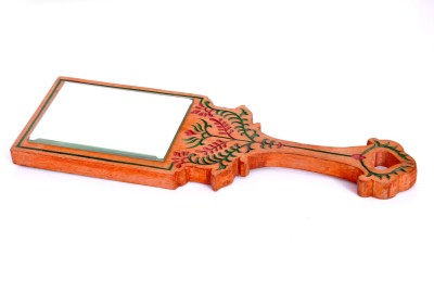 Hashcart Hand Mirror with Hand Carved Design in Orange Color