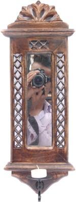 Artist Haat Wooden Handicraft Jharoka Wall décor cum mirror cum candle stand