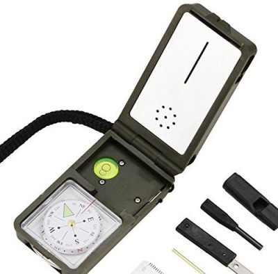 Under Control Tactical Best Survival Electronic Compass & 10-in-1 Camping Multi Tool - Includes LED Light, Thermometer Compass(White, Black)