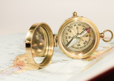 Brown Village Antique Golden Compass Compass