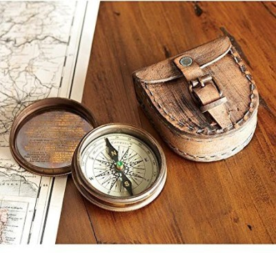 Wind & Weather Antiqued Brass Poem Compass With Leather Case Compass(Grey, White)