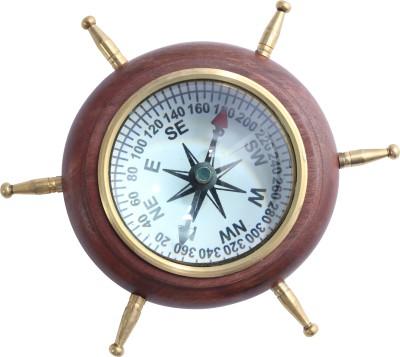 Brown Village Wooden Brass Compass(Brown)