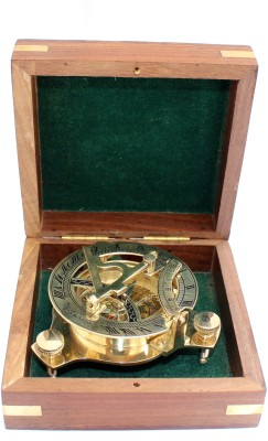 R.R. NAUTICALS 3 Nautical West London Sundial Compass With HandCrafted Wooden box Compass(Gold)