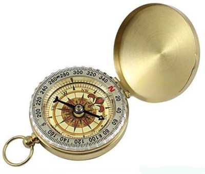 KingWinX Classic Brass Pocket Watch Style Camping Compass Compass(Gold, White)