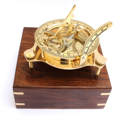 R.R. NAUTICALS 4Nautical West London Sundial Compass With HandCrafted Wooden box Compass(Gold)