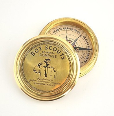 Karmakara Boy Scouts of America Brass Compass Robert Frost Poem Compass(Gold)