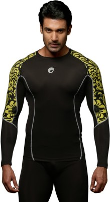 Omtex Floral Men Compression T-Shirt(Black, Yellow Full Sleeve)