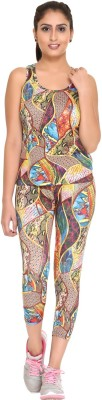 Hikes Top And Capri set Women Compression Vest(Multicolor Sleeveless)